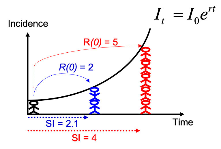 Estimating R0 from the growth rate and the serial interval.