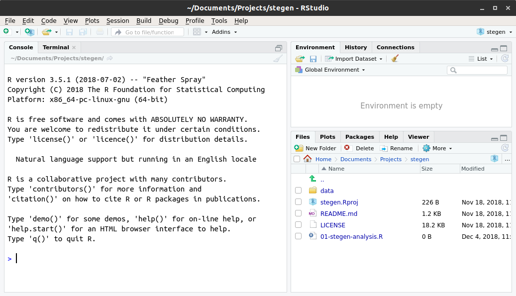 Screenshot of RStudio project set to stegen with all the data files